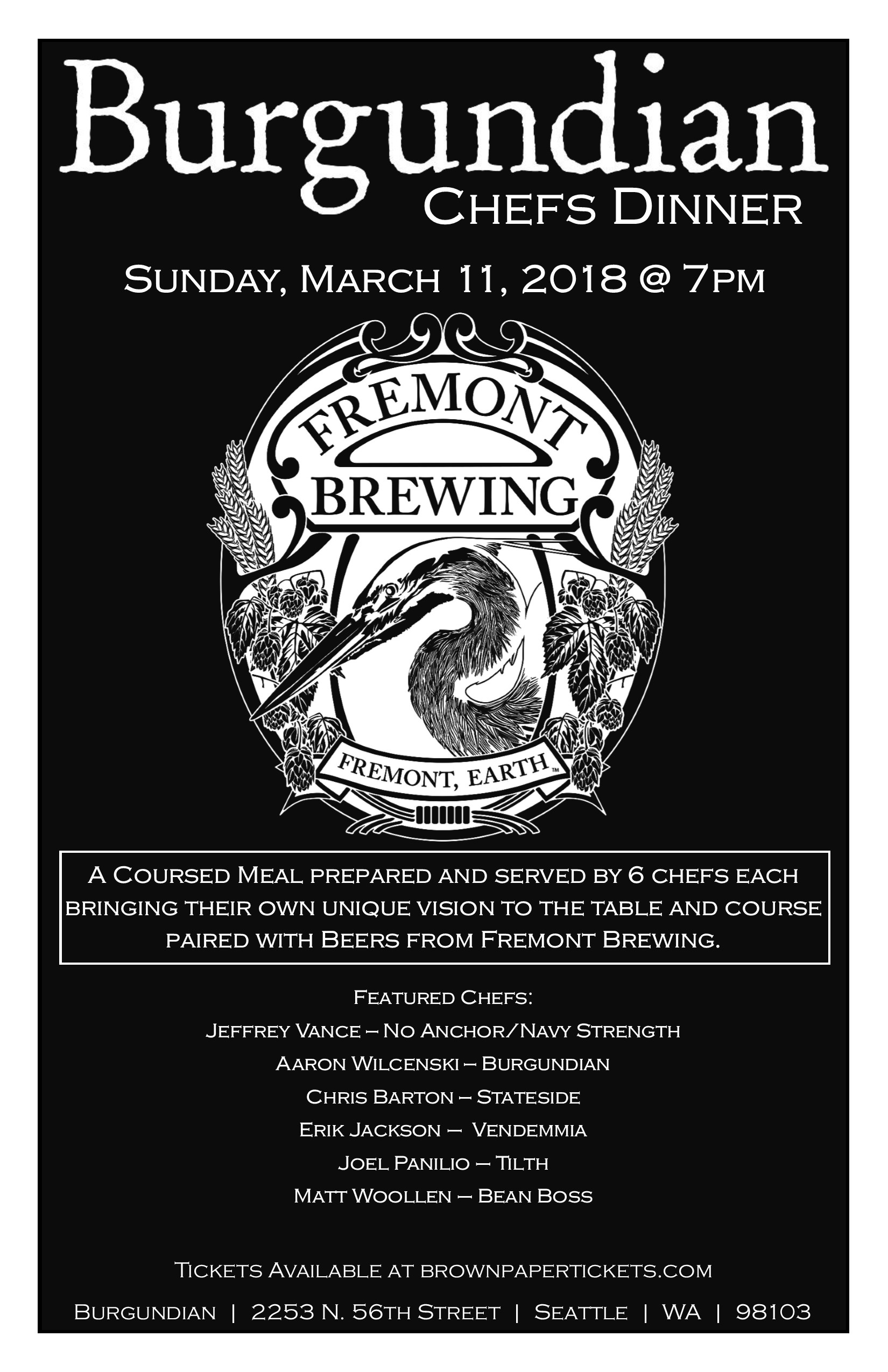 Burgundian Chefs Dinner with Fremont Brewing- Sunday, March 11th @ 7pm