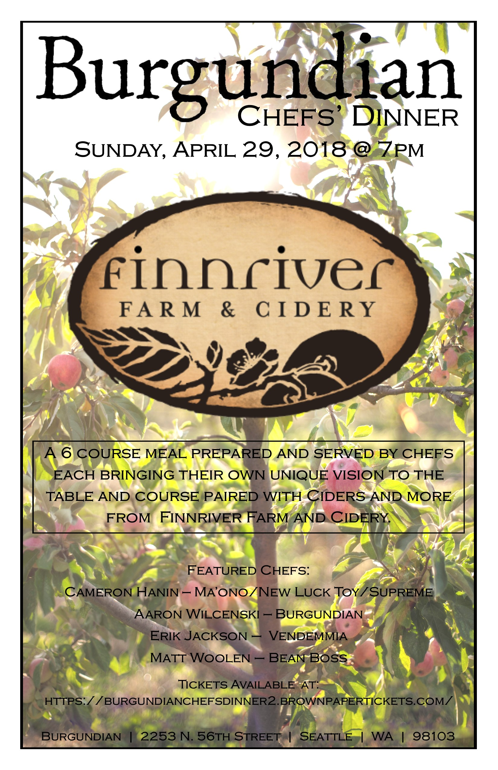 Burgundian Chefs Dinner with Finnriver Farm and Cidery-Sunday, April 29th, 2018